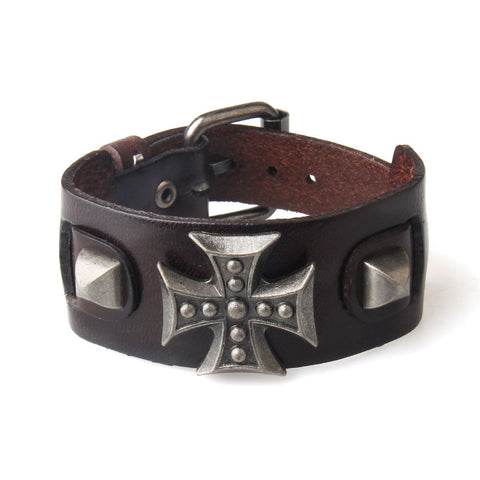 Cross Wide Genuine Leather Wrap Bracelet For Men