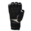 Image of Genuine Black Leather Wrist Fitness Gloves Gym For Men