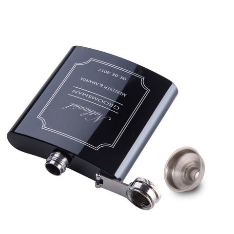 6oz Black Stainless Steel Hip Flask Groom Gift For Men