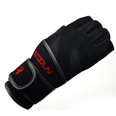 Genuine Black Leather Wrist Fitness Gloves Gym For Men