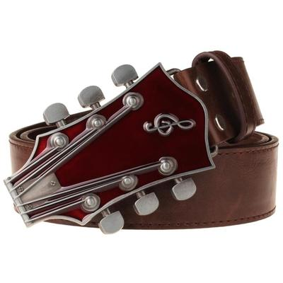 Retro Guitar Men's Belt Metal Buckle Belts