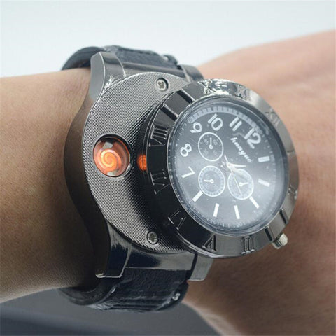 Windproof Flameless Cigarette Lighter Watch For Men