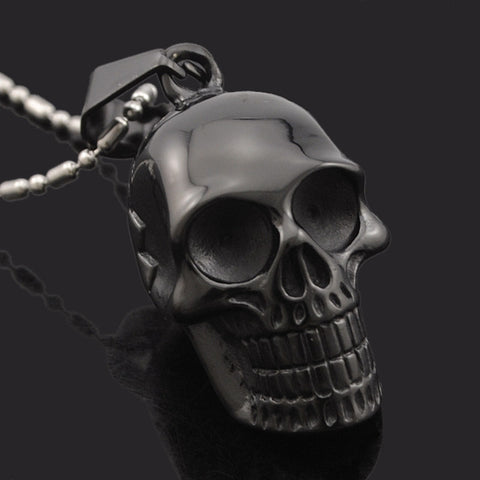 Motorcycle Style Black Stainless Steel Skull Pendants