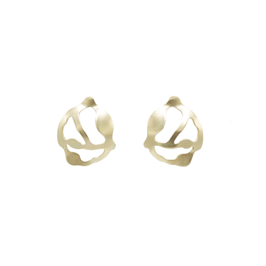 Gold Cluster Seaweed Earrings - Denisa Piatti Jewellery