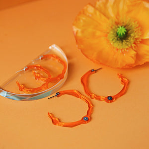 Large Fiery Orange Hoops - Denisa Piatti Jewellery