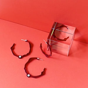 Large Velvet Red Hoops - Denisa Piatti Jewellery