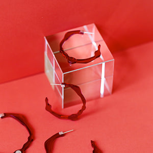 Small Velvet Red Hoops - Denisa Piatti Jewellery