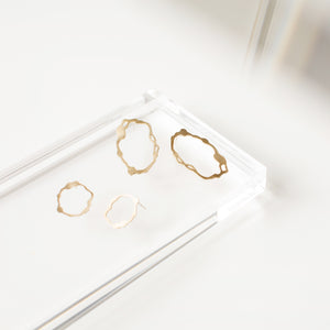 Oval Komu Earrings in Brass - Denisa Piatti Jewellery