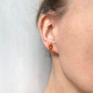 Petite Seaweed Studs in Fiery Orange - Denisa Piatti Jewellery