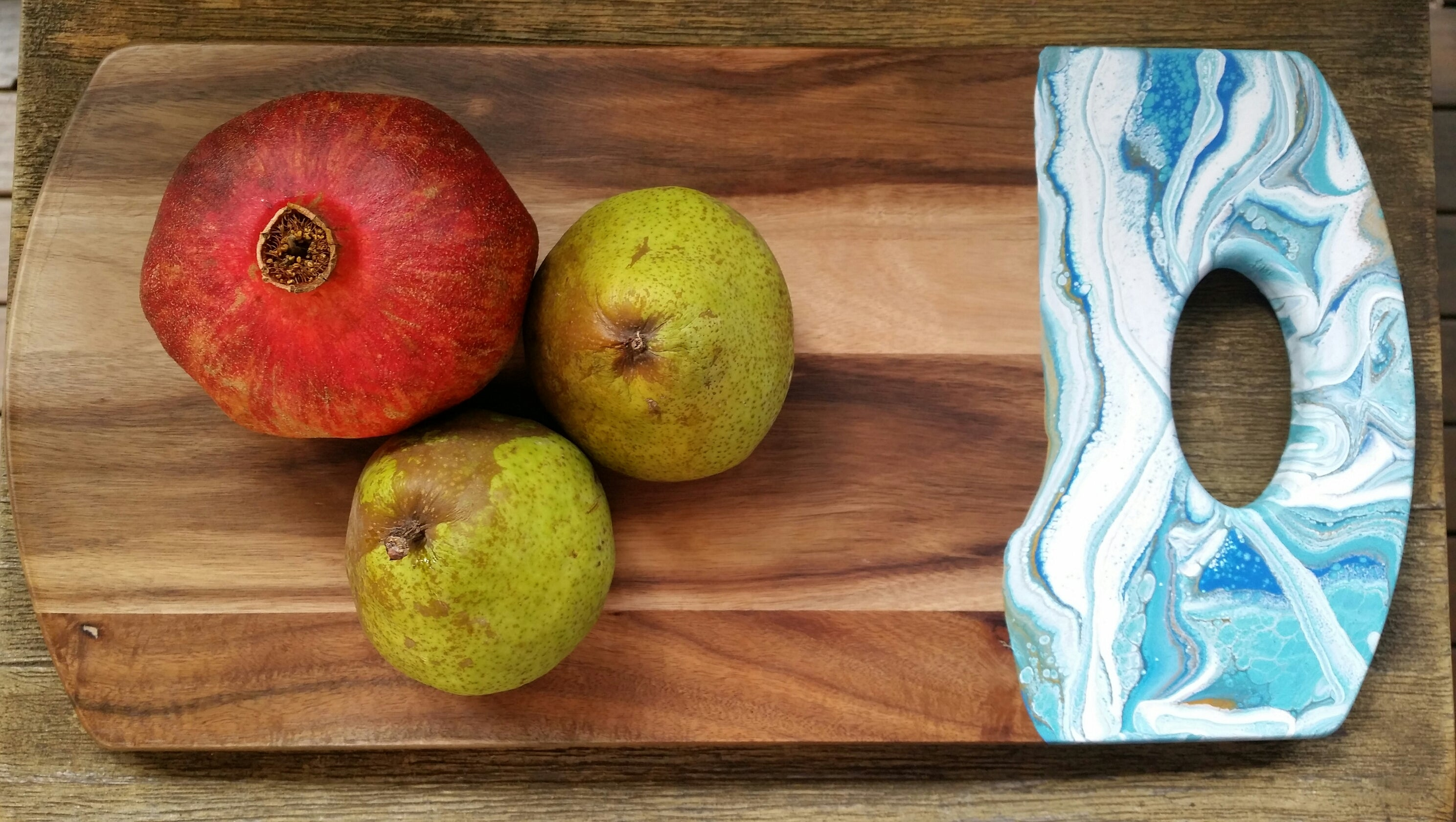 Resin art wooden board with fruit
