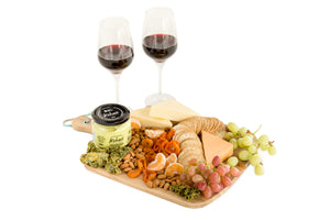 Selection of vegan cheese and vegan wine platter