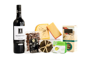 Gourmet cheese and red wine hamper