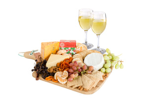 Small cheese platter of Australian products with white wine