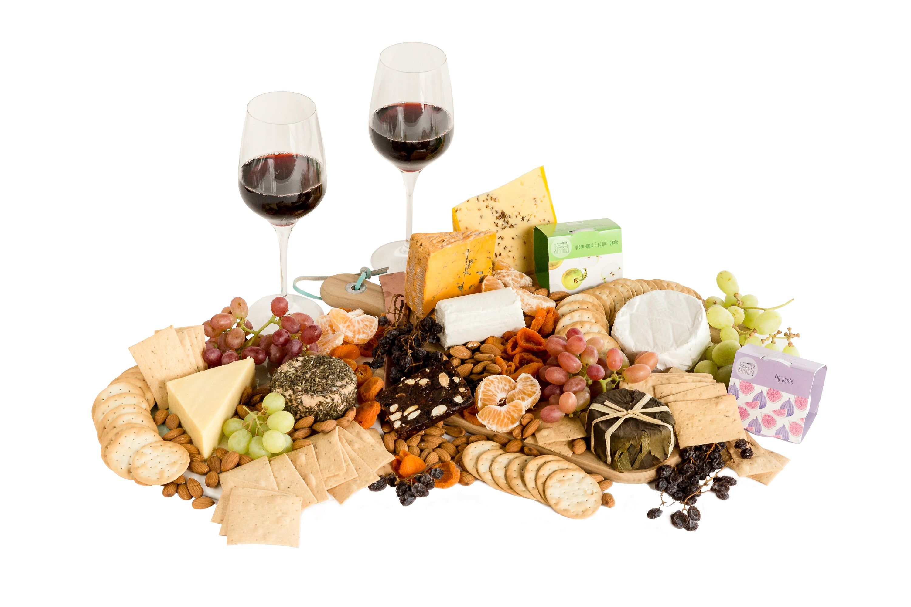 A large Australian cheese platter with wine
