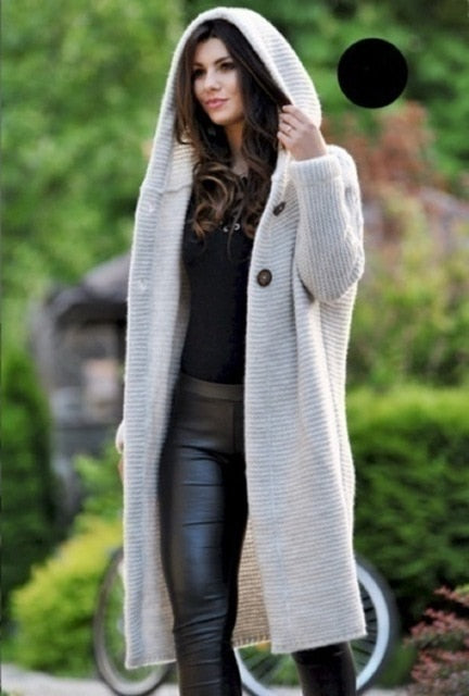 Solid Long Hooded Cardigan