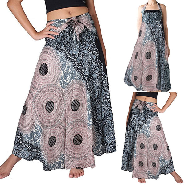 Elastic Waist  Long Floral Skirt