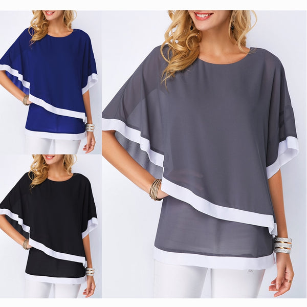 Fashion Bat Sleeve Stitching Blouse