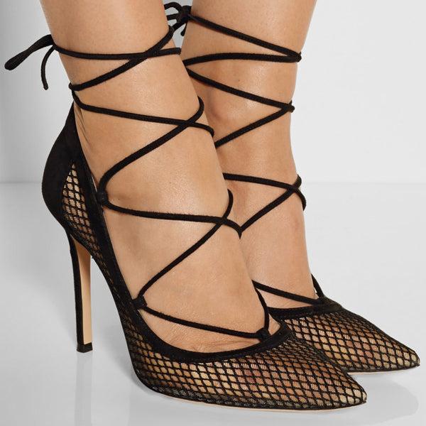 Mesh Pointed Toe Stiletto Dress Shoes