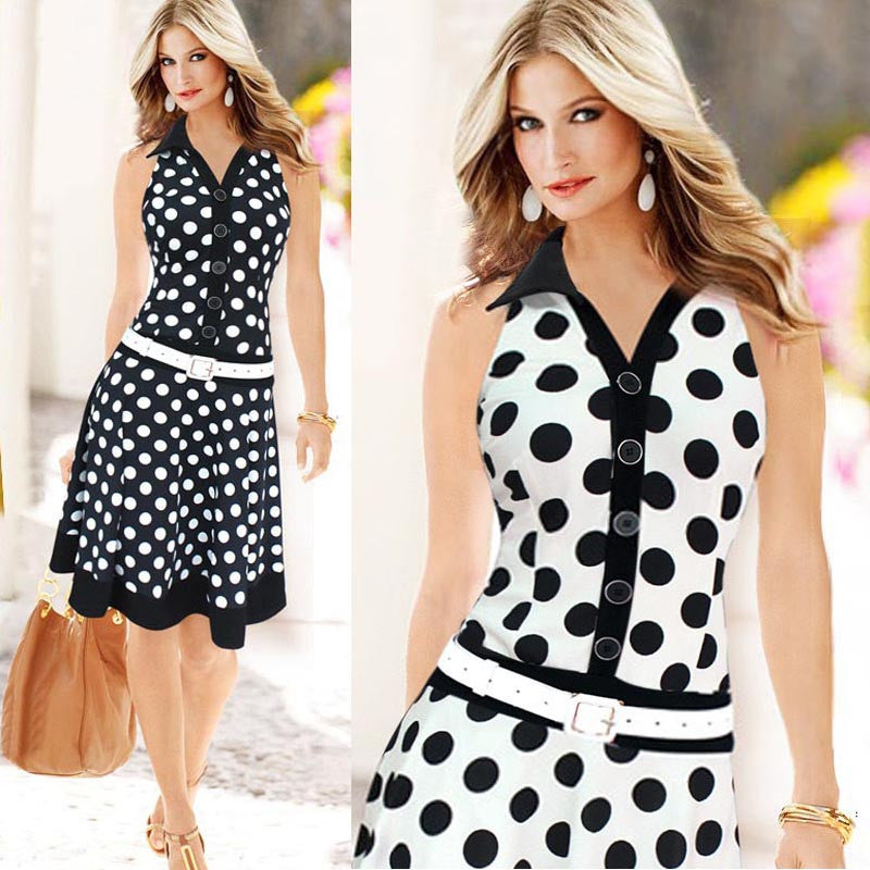 Women Fashion Polka Dot Sleeveless V-neck Print Dress
