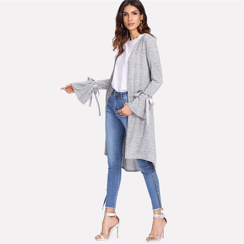 Grey Long Sleeve Casual Cardigan