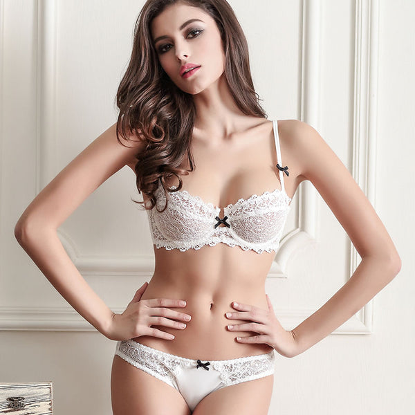 Ultra-Thin Mesh Lace Bra and Panties Set