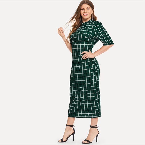 Elegant Plaid Bodycon