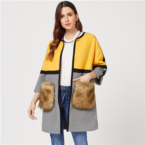 Open Front Colorblock Elegant Long Faux Fur Coat