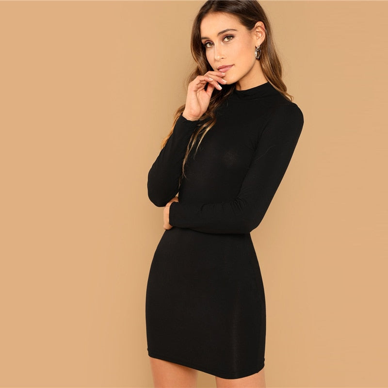 Black Minimalist Office Lady Solid Bodycon