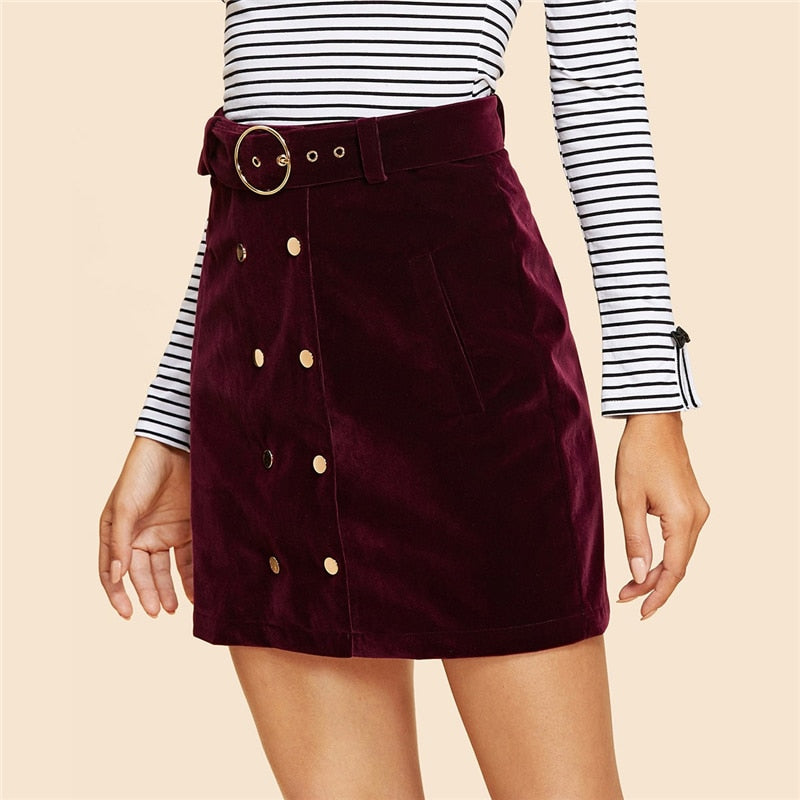 Maroon Double Button Belted Velvet Skirt
