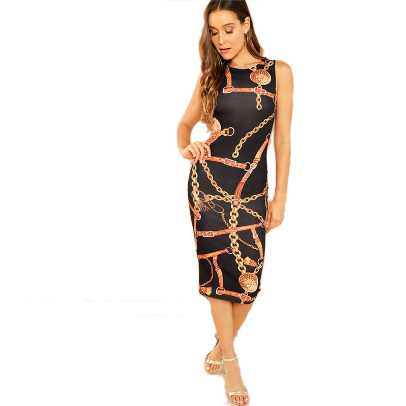 Modern Lady Sleeveless Printed Tank Bodycon Dress