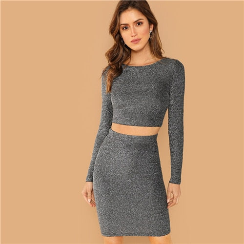 Silver Plain Crop Form Fitting Glitter Top and Bodycon  Set
