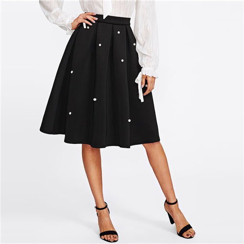 Black Vintage Pearl Embellished  Skirt