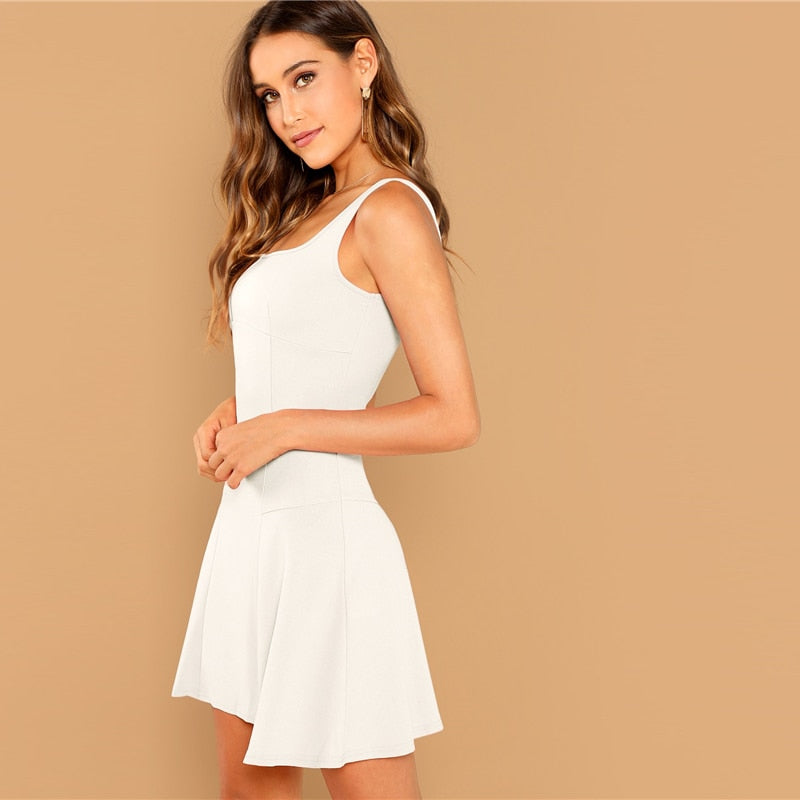White Fit Flare Solid Sleeveless  Dress
