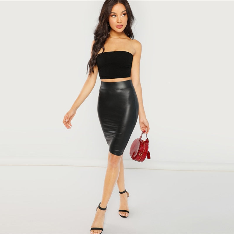 Black Wide Waistband Solid Skirt