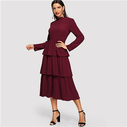 Burgundy Tiered Layer  Solid Dress