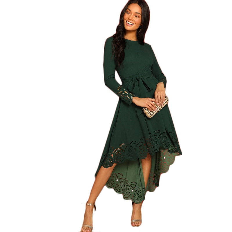 Green Laser Cut Fit and Flare Dress