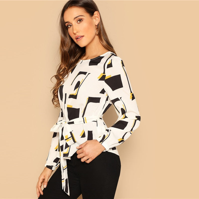 Print Boat Neck Long Sleeve Top