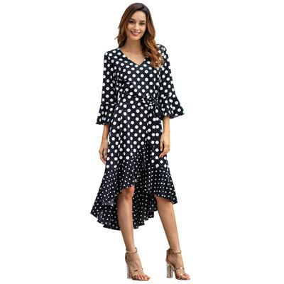 Ruffled Hem Dot Chiffon Dress