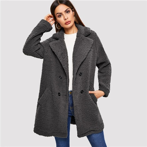 Casual Notched Teddy Coat