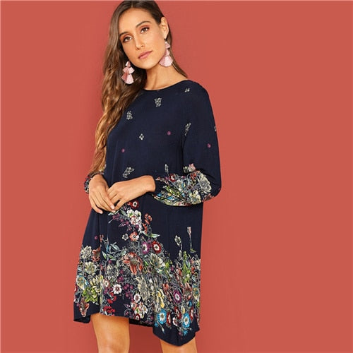 Contrast Lace Keyhole Back Floral  Dress