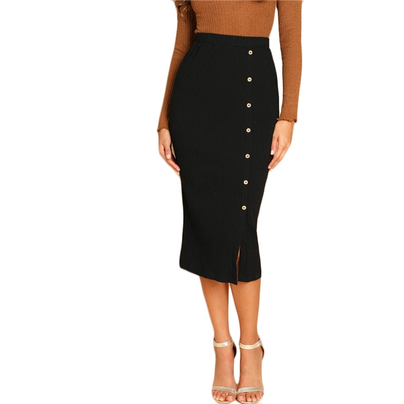 Black Button Front Ribbed  Long Skirt