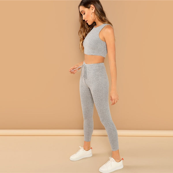 Heathered Knit Crop Tank Top and Drawstring Waist Leggings Set