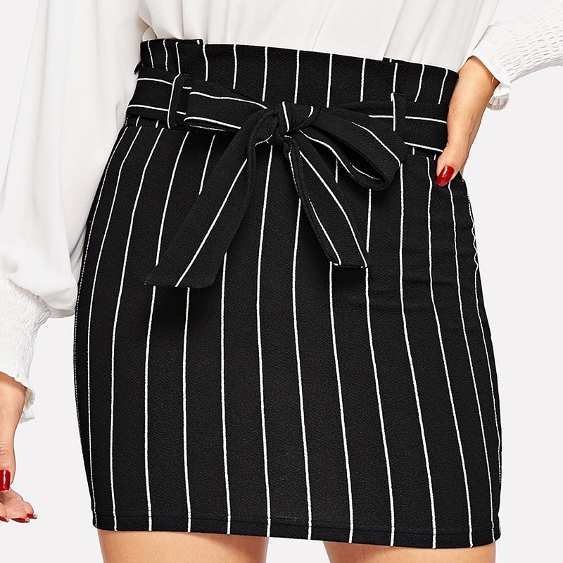 Black and White Paperbag Waist Belted Skirt