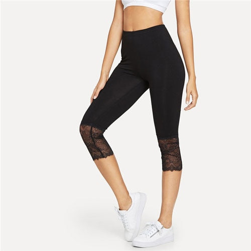 Eyelash Lace Trim  Leggings