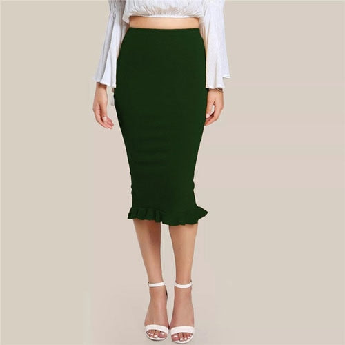 Green Split Ruffle Hem Solid  Skirt