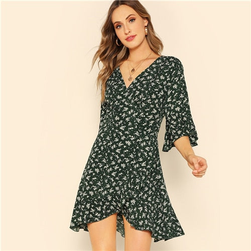 Green Flare Sleeve Surplice  Floral Mini Dress