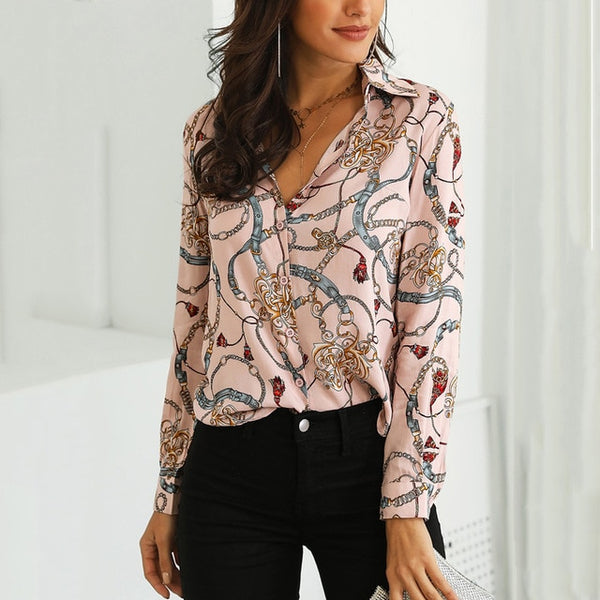 Chain Print Casual Blouse