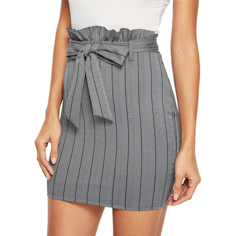 Waist Belted Zipper Bodycon Skirt