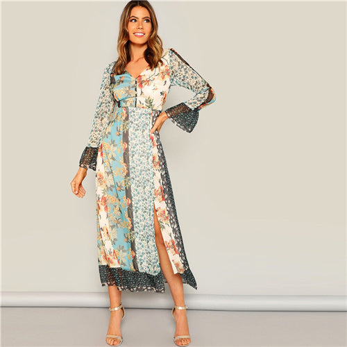 Bohemian V Neck Flounce Sleeve  Floral Maxi Dress