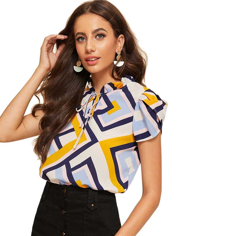 Multicolor Frilled Tie Neck Petal Sleeve Geometric Print Blouse